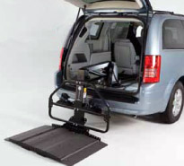 Bruno Joey (VSL-4000HW) lifts store scooters or power wheelchairs inside the back of a minivan or SUV.