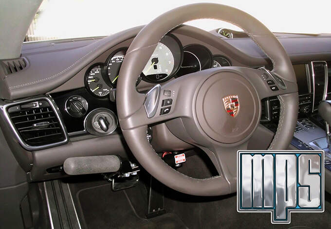 MPS Monarch right angle hand controls on a 2016 Porsche Panamera.