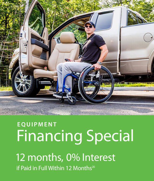 man in wheelchair next to turning seat drivers side of the vehicle - with Financing Special Offer