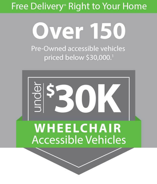 wheelchair vans under 30K graphic with Free Delivery