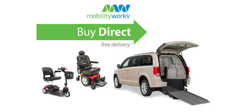 MobilityWorks Buy Direct logo with a scooter powerchair and rear entry van