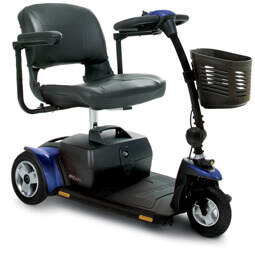 Blue Go-Go Elite 3 wheel electric mobility scooter with basket