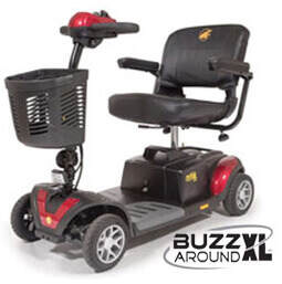 red Buzzaround XL 4 wheel electric mobility scooter with basket