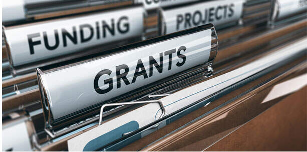 File folders with Grants and Funding titles