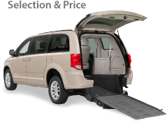 tan wheelchair acceessible vehicle with rear entry ramp out