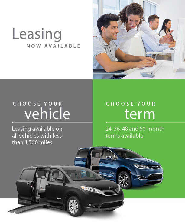 Announcement for wheelchair van leasing with Mobility Works.