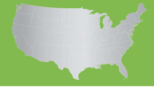 silver map of US on green background