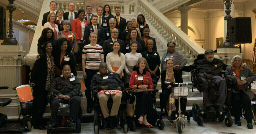 large group of people on steps for MS State Advocacy Days