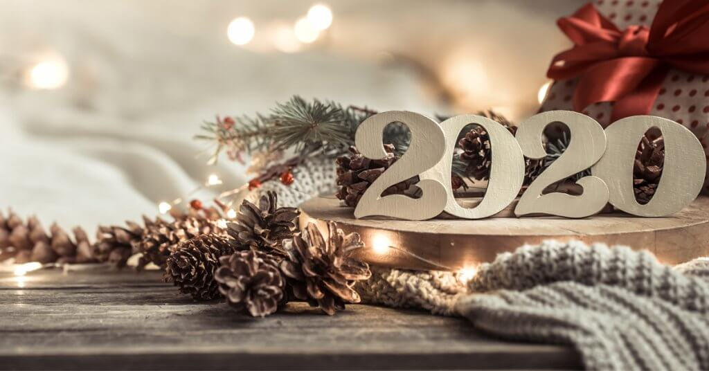 festive new year background with numbers 2020.