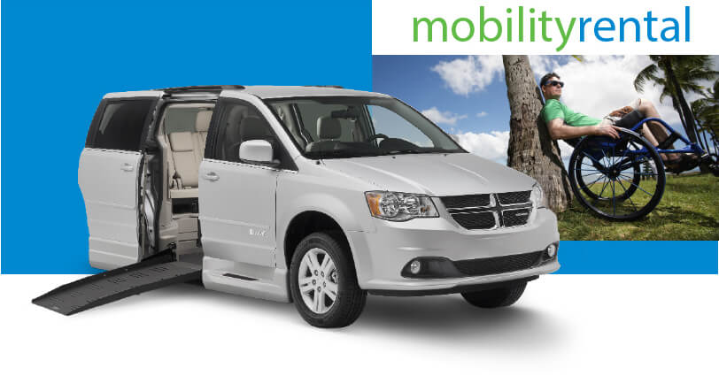 MobilityRental logo with side entry wheelchair van with ramp extended