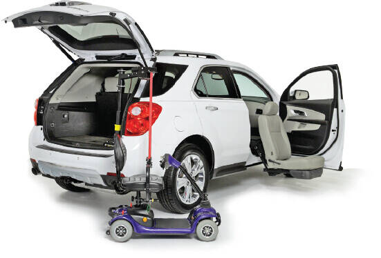 White SUV with Turning seat and scooter lift with purple scooter